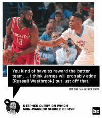 Beard, Russell Westbrook, and Stephen: ROCKETS  You kind of have to reward the better  team. I think James will probably edge  [Russell Westbrook] out just off that.  H/T THE DAN PATRICK SHOW  STEPHEN CURRY ON WHICH  NG NON-WARRIOR SHOULD BE MVP  b/r Steph's vote: The Beard.