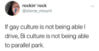 Rockin: rockin' rock  @stone mount  If gay culture is not being ablel  drive, Bi culture is not being able  to parallel park.