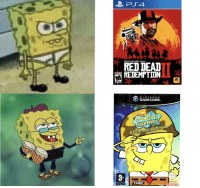 A good game vs a masterpiece: ROCKSTAR GAMES PRESENTS  RED DEAD  REDEMPTION  N INTEND O  GAMECUBE  squarepaNts  3  ENSED BY  www.pegiintc  Ninlendo A good game vs a masterpiece