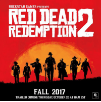 Red Dead Redemption 2 is coming Fall 2017 to PS4! #RDR2: ROCKSTAR GAMES PRESENTS  REDDEAD  REDEMPTION  FALL 2017  TRAILER COMING THURSDAY, OCTOBER 20 AT11AM EST Red Dead Redemption 2 is coming Fall 2017 to PS4! #RDR2