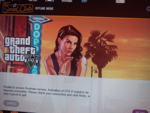 Click, Club, and Internet: ROCKSTAR  SAMES  S  OFFLINE MODE  ocial Club  Cnema  grand  theFt  auto  Unable to access Rockstar senvers. Actiation of GIA Vrequires an  Internet connection. Please check your connection and click Retny. or  click Cancel to quit.  CANCEL offline mode requires a internet connection