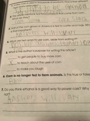 I have a feeling someone got a hold of the answer key.: roday, com is used in thousands of products. How is that different  I.  Today  from many years agg  2. The article mentions  food products that come from corn.  rcorn Starch  What are they?  3, Half of the corn grown in America is fed to cattle and hogs. Why  is that important?  4. What are two ways to use corn, aside from eating it?  5. What is the author's purpose for writing this article?  to get people to buy more corn  Xto teach about the uses of corn  to make you laugh  6. Corn is no longer fed to farm animals. Is this true or false  7. Do you think ethanol is a good way to power cars? Why  not? I have a feeling someone got a hold of the answer key.
