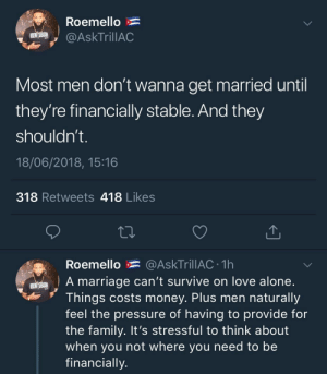 Being Alone, Dank, and Family: Roemello  ER İdgy @AskTrillAC  Most men don't wanna get married until  they're financially stable. And they  shouldn't  18/06/2018, 15:16  318 Retweets 418 Likes  Roemello * @AskTrillAC 1h  A marriage can't survive on love alone  Things costs money. Plus men naturally  feel the pressure of having to provide for  the family. It's stressful to think about  when you not where you need to be  financially Love doesn't pay bills by KingPZe FOLLOW HERE 4 MORE MEMES.