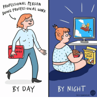 Being an adult is hard (by @beckybarnicomics): RoFESSIONAL PERSON  DOING PROFESE  NAL woRk  AN  WORK  COCo  POPS  BY DAY  BY NIGHT  BFUK  BECKY BARNICOAT Being an adult is hard (by @beckybarnicomics)