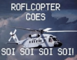 What Does roflcopter Mean?   Memes by Dictionary.com: ROFLCOPTER  GOES  SOI SOI SOI SOI! What Does roflcopter Mean?   Memes by Dictionary.com