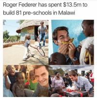 When I get some serious money I am going to build whole self sustainable communities that will never need outside help again ❤️respect to @rogerfederer many people would not share their wealth.: Roger Federer has spent $13.5m to  build 81 pre-schools in Malawi When I get some serious money I am going to build whole self sustainable communities that will never need outside help again ❤️respect to @rogerfederer many people would not share their wealth.