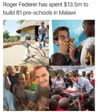 "Via @dilutethepower ❤ To the rest of the world, he's known as one of the greatest tennis players of all time. To the children in 'the warm heart of Africa', Malawi, he's known simply as the man who helps to build preschools across the country. . The 35-year-old has been supporting the government's Early Childhood Development (ECD) programme in the country as his organisation continues to make progress in the field of early childhood education across the nation. Speaking of the importance of school, he said: ""I believe every young child should have the opportunity to spend some years in such a centre because early education is the foundation of learning."" dilutethepower awakespiritual: Roger Federer has spent $13.5m to  build 81 pre-schools in Malawi Via @dilutethepower ❤ To the rest of the world, he's known as one of the greatest tennis players of all time. To the children in 'the warm heart of Africa', Malawi, he's known simply as the man who helps to build preschools across the country. . The 35-year-old has been supporting the government's Early Childhood Development (ECD) programme in the country as his organisation continues to make progress in the field of early childhood education across the nation. Speaking of the importance of school, he said: ""I believe every young child should have the opportunity to spend some years in such a centre because early education is the foundation of learning."" dilutethepower awakespiritual"