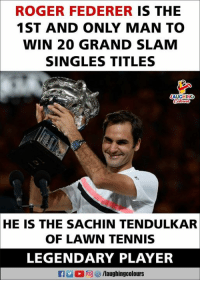Congratulations To #RogerFederer 😊: ROGER FEDERER IS THE  1ST AND ONLY MAN TO  WIN 20 GRAND SLAM  SINGLES TITLES  LAUGHING  HE IS THE SACHIN TENDULKAR  OF LAWN TENNIS  LEGENDARY PLAYER  f/laughingcolours Congratulations To #RogerFederer 😊