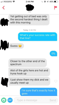 A dick only a Tinder fuck boy could love: ROGERS  2:44 PM  Joe  Yet getting out of bed was only  the second hardest thing I dealt  with this morning  Today 2:40 PM  What's your success rate with  that line?  Guess (  0%  Closer to the other end of the  spectrum  Alot of the girls here are hot and  tryna hook up  l just show them my dick and we  usually meet up  I'm sure that's exactly how it  goes  GIF  Type a message  Send A dick only a Tinder fuck boy could love