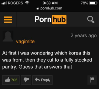 Porn Hub, Pornhub, and Guess: ROGERS  9:39 AM  a pornhub.com  Porn hub  Ll  2 years ago  vagimite  At first i was wondering which korea this  was from, then they cut to a fully stocked  pantry. Guess that answers that  705Reply Answers that