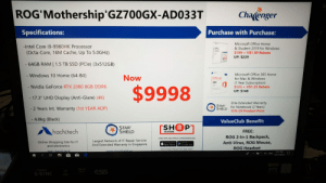 "Future, Microsoft, and Microsoft Office: ROG'Mothership'GZ700GX-AD033T  Chacenger  Purchase with Purchase:  Specifications:  Microsoft Office Home  & Student 2019 for Windows  $199+ V$1.99 Rebate  UP: $229  -Intel Core i9-9980HK Processor  (Octa-Core, 16M Cache, Up To 5.0GHZ)  - 64GB RAM | 1.5 TB SSD (PCle) (3*512GB)  Microsoft Office 365 Home  - Windows 10 Home (64-Bit)  Now  Office 365  for Mac & Windows  (1 Year Subscription)  $125+ V$1.25 Rebate  UP: $148  - Nvidia GeForce RTX 2080 8GB DDR6  $9998  - 17.3"" UHD Display (Anti-Glare) (4K)  Elite Extended Warranty  for Notebook (2 Years)  15% Of Product Price  STAR  SHIELD  - 2 Years Int. Warranty (1st YEAR ADP)  4.8kg (Black)  ValueClub Benefit:  rSH P  STAR  SHIELD  hachitech  FREE:  IN STORE  ROG 2-In-1 Backpack,  Anti-Virus, ROG Mouse,  ONE APP, MULTIPLE CONVENIENCES  Largest Network of IT Repair Service  And Extended Warranty in Singapore  Online Shopping Site for IT  and electronics  Cogle play  App Store  ROG Headset  Download ValueClub app now  www.hachi.tech  www.starchield.ca  331 PM  d ENG  13/11/2019  EFORCE  RTX  nvIDIA  K  ESS  G-SYN This better be able to predict my future"