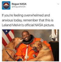 (@dabmoms) is killing the meme game: Rogue NASA  Rogue NASA  NASA  If you're feeling overwhelmed and  anxious today, remember that this is  Leland Melvin's official NASA picture. (@dabmoms) is killing the meme game