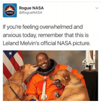Needed this. RP @_theblessedone: Rogue NASA  @Rogue NASA  NASA  If you're feeling overwhelmed and  anxious today, remember that this is  Leland Melvin's official NASA picture. Needed this. RP @_theblessedone