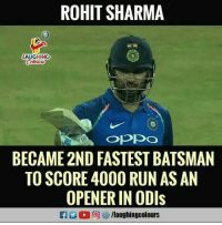 rohit sharma: ROHIT SHARMA  LAUGHINO  BECAME 2ND FASTEST BATSMAN  TO SCORE 4000 RUN AS AN  OPENER IN ODls  /laughingcolours