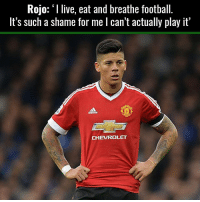Accurate: Rojo: I live, eat and breathe football  It's such a shame for me l can't actually play it'  CHEVROLET Accurate