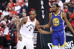Kevin Durant, Kawhi Leonard, and Kevin: Rokuten  DEN  STA  TE  SOLD  35  BAPTO  2  HARRIOFS  NG  BATV  2019 Kawhi Leonard and Kevin Durant have discussed possibility of playing together, per Adrian Wojnarowski