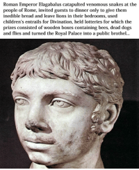 Boxing, Children, and Lottery: Roman Emperor Elagabalus catapulted venomous snakes at the  people of Rome, invited guests to dinner only to give them  inedible bread and leave lions in their bedrooms, used  children's entrails for Divination, held lotteries for which the  prizes consisted of wooden boxes containing bees, dead dogs  and flies and turned the Royal Palace into a public brothel