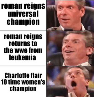 Charlotte flair 10 time women's champion OH HELL NAW!!!!: roman reigns  universal  champion  roman reigns  returns to  the wwe from  leukemia  Charlotte flair  10 time women's  champion Charlotte flair 10 time women's champion OH HELL NAW!!!!