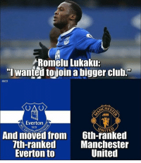 "Club, Everton, and Memes: Romelu Lukaku:  ""l wanted tojoin a bigger club.""  Al123  ACHES  Everton  1878  NITE  And moved from  7th-ranked  Everton to  Gth-ranked  Manchester  United One step at a time for Lukaku......😂😂 Follow @memesofootball"