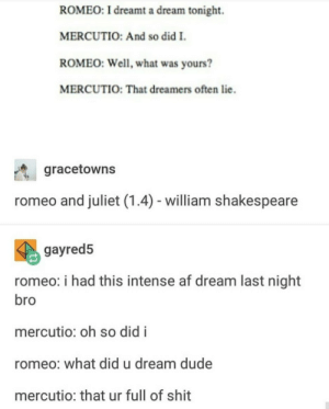 A Dream, Af, and Dude: ROMEO: I dreamt a dream tonight.  MERCUTIO: And so did I  ROMEO: Well, what was yours?  MERCUTIO: That dreamers often lie.  gracetowns  romeo and juliet (1.4) - william shakespeare  gayred5  romeo: i had this intense af dream last night  bro  mercutio: oh so did i  romeo: what did u dream dude  mercutio: that ur full of shit This is so deep