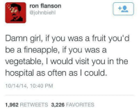 Funny, Tumblr, and Girl: ron flanson  @johnbiehl  1  Damn girl, if you was a fruit you'd  be a fineapple, if you was a  vegetable, I would visit you in the  hospital as often as I could.  10/14/14, 10:40 PM  1,962 RETWEETS 3,226 FAVORITES