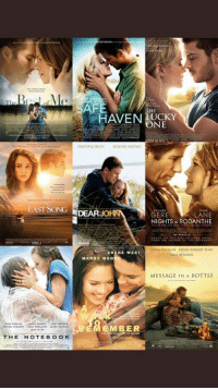 A whole day of watching these movies... it's a date 🎥🤧 https://t.co/2KE3vXHhOo: RON  HOUGH  SAFE  THE  HAVEN UCKY  ONE  PRIL 20 2012  channing tatum  amanda seyfried  LAST SONGDEARJ  RICHARD  DIANE  LANE  NIGHTS IN RODANTHE  ERE  APRIL  KEVIN COSTNER ROBIN WRIGHT PENN  PAUL NEWMAN  SHANE WEST  MANDY MO0  MESSAGE IN A BOTTLE  EMBER A whole day of watching these movies... it's a date 🎥🤧 https://t.co/2KE3vXHhOo