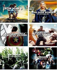 Marvel, Thor, and April: RON MAN 3  3RD  MAY 2013  IN AM  ICA  ESWINTER SOLDIER  HE TH APRIL 2014  H N  THOR  HE DARR WOR  8TH NOVEMBER 2013  OARDIA  THE GALAX  VENGERS 2  TH MAY 2015 MARVEL is taking over the Big Screen...