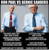 See the difference here?  Via: Get involved, you live here: RON PAUL VS BERNIE SANDERS  TOLD PEOPLE WHAT THEY  TELLS PEOPLE WHAT THEY  WANT TO HEAR  DIDNT WANT TO HEAR  SELLS PROMISES TO KEEP  PROMOTES INFORMATION  TO EMPOWER PEOPLE  PEOPLE DEPENDENT UN THE SYSTEM  NEVER VOTED FOR EXPANSIVE  VOTES FOREXPANSIVE  OVER REACHING LEGISLATION  OVERREACHING LEGISLATION  UNDERSTANDS GOVT IS COERCION  CLAIMSGOVTIS FOR THE PEOPLE See the difference here?  Via: Get involved, you live here