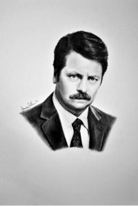 Ron Swanson. Done in pencil: Ron Swanson. Done in pencil