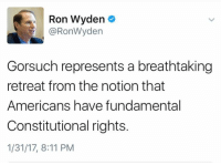 Memes, 🤖, and Ron Wyden: Ron Wyden  e  RonWyden  Gorsuch represents a breathtaking  retreat from the notion that  Americans have fundamental  Constitutional rights.  1/31/17, 8:11 PM Nailed it!  Democrats are finding their spines and we like it 😍