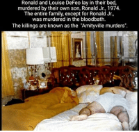 "Bloods, Creepy, and Family: Ronald and Louise DeFeo lay in their bed,  murdered by their own son, Ronald Jr., 1974.  The entire family, except for Ronald Jr.  was murdered in the bloodbath.  The killings are known as the ""Amityville murders"". Follow @the.paranormal.guide for more! ________________________________ . . . . HASHTAGS BELOW IGNORE . . . . . . _________________________________ scary creepy gore horrormovie blood horrorfan love horrorjunkie ahs twd horror supernatural horroraddict makeup murder spooky terror creepypasta evil metal bloody follow paranormal ghost haunted me serialkiller like4like deepweb"