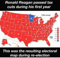 Memes, Ronald Reagan, and 🤖: Ronald Reagan passed tax  cuts during his first year  1984 Actual  Co  47  KS  MA  RI  CT  NI  AZ  AR  SC  GA I  270 DE ם  TA  WIN MD  DC  HI  This was the resulting electoral  map during re-election Red wave