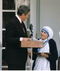 Ronald Reagan reprimands the cleaning lady for interrupting his speech, (1987): Ronald Reagan reprimands the cleaning lady for interrupting his speech, (1987)
