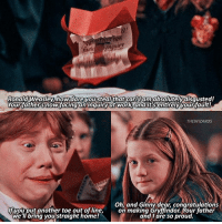 Fall, Gryffindor, and Memes: Ronald Weasley, hoW dare you steal that car! am  absolutely disgusted!  Your father's now facing an inquiry at work, and it sentirely your fault!  THE WIZARDS  Oh, and Ginny dear congratulations  lf you put another toe out of line  on making Gryffindor. Your father  Weil bring you straight home!  and I are so proud. Spring or fall? - New filter from @wizardtutorials (adjusted it tho)