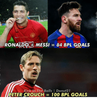 Kick in the Balls, Memes, and 🤖: RONALDO MESSI  844 BPL GOALS  Kick In The Balls l Donut21  PETER CROUCH  100 BPL GOALS 😂😂😂