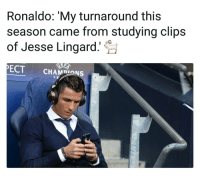 True Story 😂: Ronaldo: 'My turnaround this  season came from studying clips  of Jesse Lingard.  ECTCHAMDIONS True Story 😂