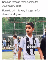 Bad, Goals, and Old Man: Ronaldo through three games for  Juventus: O goals  Ronaldo Jr in his very first game for  Juventus: 4 goals  ее Kid's making the old man look bad