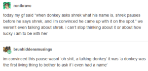 "big if true: ronibravo  today my gf said ""when donkey asks shrek what his name is, shrek pauses  before he says shrek, and i'm convinced he came up with it on the spot."" we  weren't even talking about shrek. i can't stop thinking about it or about how  lucky i am to be with her  brunhiddensmusings  im convinced this pause wasnt 'oh shit, a talking donkey it was 'a donkey was  the first living thing to bother to ask if i even had a name big if true"
