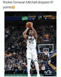 America, Basketball, and Nba: Rookie Donavan Mitchell dropped 41  points  TATISSOT  AMERICA FIRST  PHIRST Slept on🔥 nba nbamemes donovanmitchell