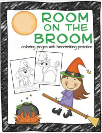 Room On The Broom Coloring Pages With Handwriting Practice Love
