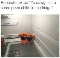 "Just chillin': Roomate texted ""Yo dawg, left u  some pizza chillin in the fridge"" Just chillin'"