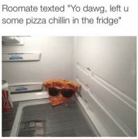 "Memes, 🤖, and Yo Dawg: Roomate texted ""Yo dawg, left u  some pizza chillin in the fridge"" It's nice to have friends who don't fucking suck. (Memecenter.com)"