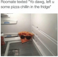 "Pizza, Yo, and Fridge: Roomate texted ""Yo dawg, left u  some pizza chillin in the fridge"" Something I would do 😂😂 https://t.co/e8bBI8PiNM"