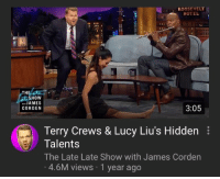 Energy, Terry Crews, and Tumblr: ROOSEVELT  HOTEL  TH  HOW  JAMES  CORDEN  3:05  Terry Crews & Lucy Liu's Hidden  Talents  The Late Late Show with James Corden  4.6M views 1 year ago lucillesballs:  cleopatronising: the manic energy my last three brain cells trying to write the introduction paragraph to my thesis due in 4 hours