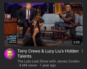 Energy, Target, and Terry Crews: ROOSEVELT  HOTEL  TH  HOW  JAMES  CORDEN  3:05  Terry Crews & Lucy Liu's Hidden  Talents  The Late Late Show with James Corden  4.6M views 1 year ago lucillesballs: cleopatronising: the manic energy my last three brain cells trying to write the introduction paragraph to my thesis due in 4 hours