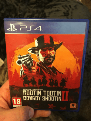 Photoshop, Games, and Cowboy: ROOTİNTODTIN  COWBOY SHOOTIN  ROCKSTAR GAMES PRESENTS  18  www.pegi.info So I printed that photoshop off