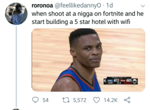 Hotel, Star, and Wifi: roronoa @feellikedannyO 1d  when shoot at a nigga on fortnite and he  start building a 5 star hotel with wifi  ROCKETS LEAD 1-0  OKC  4TH 23.0  108 HOU 114  54 5,572 14.2K Ç This some bullshit