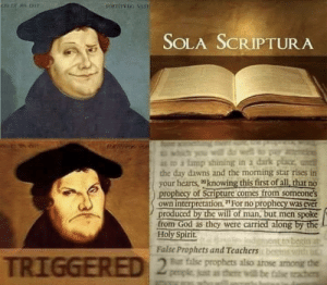 """protestants are shaking rn: rorriTVio VIST  KOEM RIT  SOLA SCRIPTURA  for  you will do well to pay  it o a lmp shining in a dark place  the day dawns and the morning star rises in  your hearts, knowing this first of all, that no  prophecy of Scripture comes from someone's  own interpretation. """"For no prophecy was ever  produced by the will of man, but men spoke  from God as they were carried along by the  Holy Spirit  nent to begin at  False Prophets and Teachers beetnr with u  2Bar filse prophets also arose armong the  penple, just as thee will be false t protestants are shaking rn"""