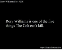 Memes, Rory Williams, and 🤖: Rory Williams Fact #208  Rory Williams is one of the five  things The Colt can't kill.  rorywilliamsfacts tum