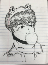 Love, Omg, and Prince: rose-forester: So @btsarmyzona requested some Jungkook, and I was more than happy to draw the bubble-blowing baby!  I hope you enjoy!  OMG THXX SWEETIE. I LOVE IT. MY LIL FROG. HE NEEDS A KISS TO TURN INTO A PRINCE